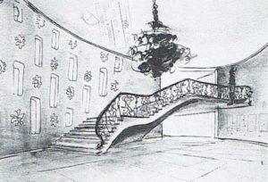 Morbelli, progetto di modifica del Cinema Ambrosio, schizzo della nuova scala d'accesso alla galleria, I954.