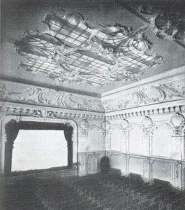 Il singolare lucernario a luminosità variabile, creato sul soffitto del Cinema Ambrosio, 1914.